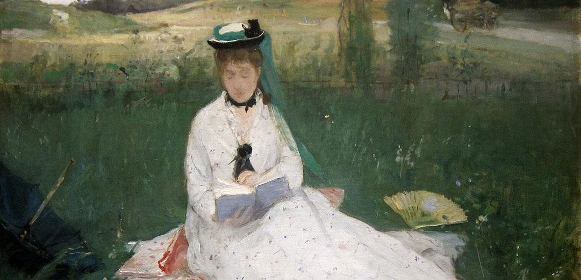 Читающая с зеленым зонтиком