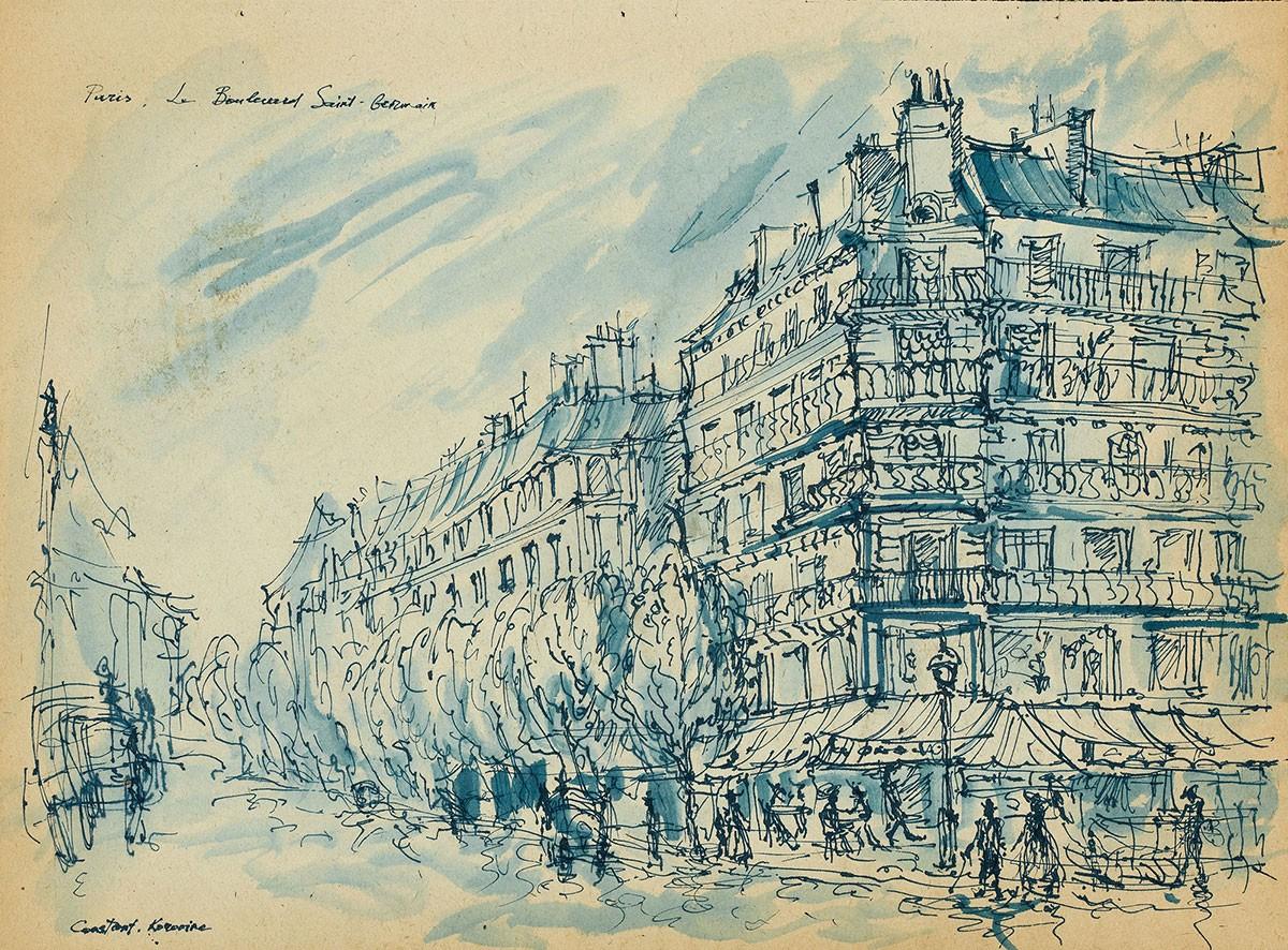 Boulevard Saint Berwick Константин Коровин Парижские зарисовки